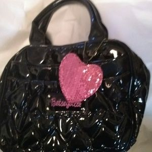 New Betseyville small black patent leather purse
